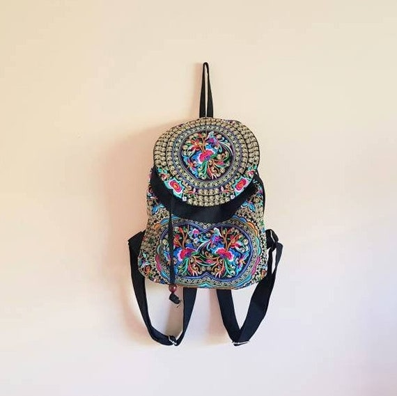 Colorful Ethnic Oriental Embroidered Backpack