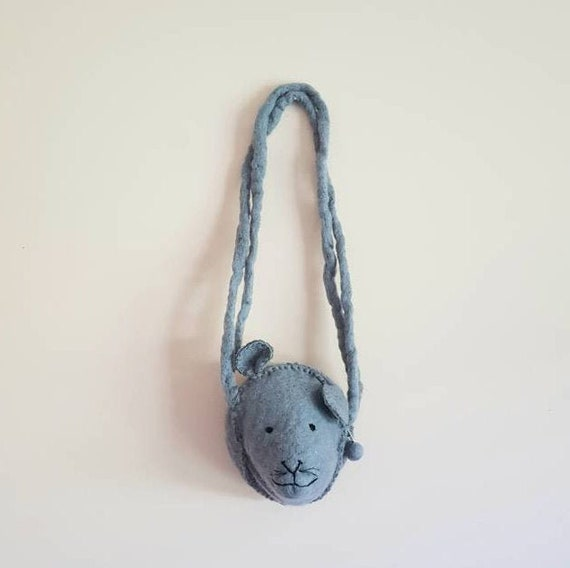 Wool Grey Mouse Children Novelty Hand Bag Purse