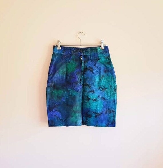 Vintage Blue Green Genuine Leather Pencil Skirt