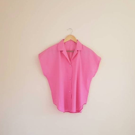 Vintage Pink Boxy Button Down Blouse
