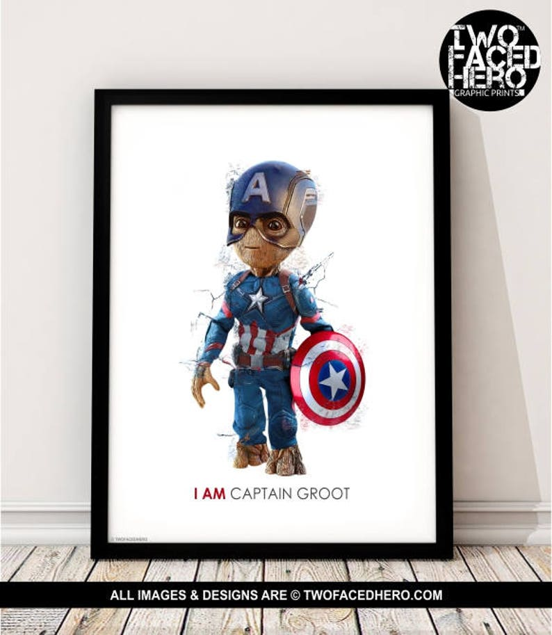 7481860be529 Baby Groot   Captain America Art Print I am Groot Guardians