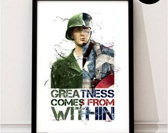 Captain America Art Print, Marvel Superhero Inspired, Quote, Avengers Art, Civil War, Winter Soldier
