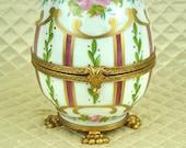 Limoges porcelain egg, jewelry ring casket dresser trinket box, French vintage hand painted, claw footed, ormolu mounted, enamel gilt gilded