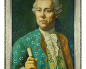 Antique oil on canvas portrait of 18th century nobleman. Painted silver-leaf carved wood frame, powdered wig, periwig