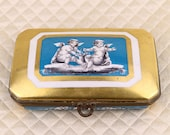Sevres antique hand painted French porcelain jewelry box, dresser trinket casket, gold, gilt, bronze hinged lid, cherub putto, french France