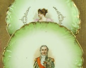 Pair of antique cabinet portrait plates, hand-decorated porcelain, 18th or 19th century man and woman with gilded details two, 2, green