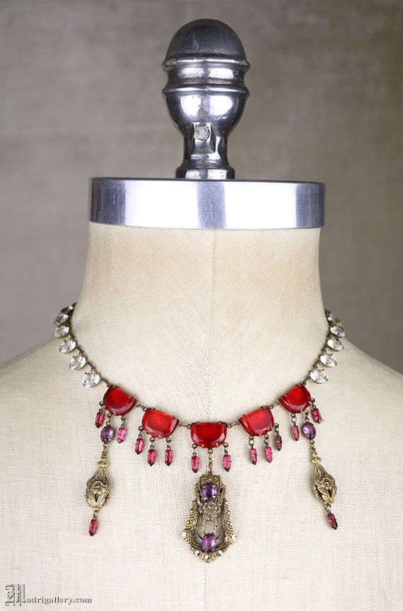 Antique necklace, Edwardian raspberry glass, clear