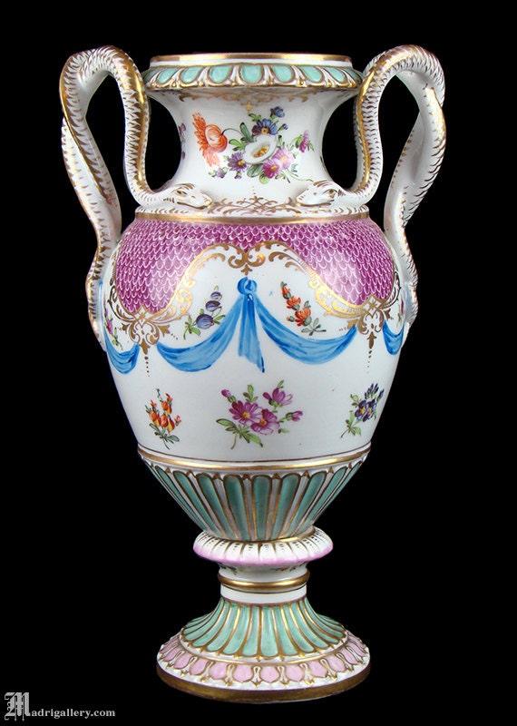 Dresden Porcelain Snake Serpent Handled Vase Urn Antique 19th Etsy