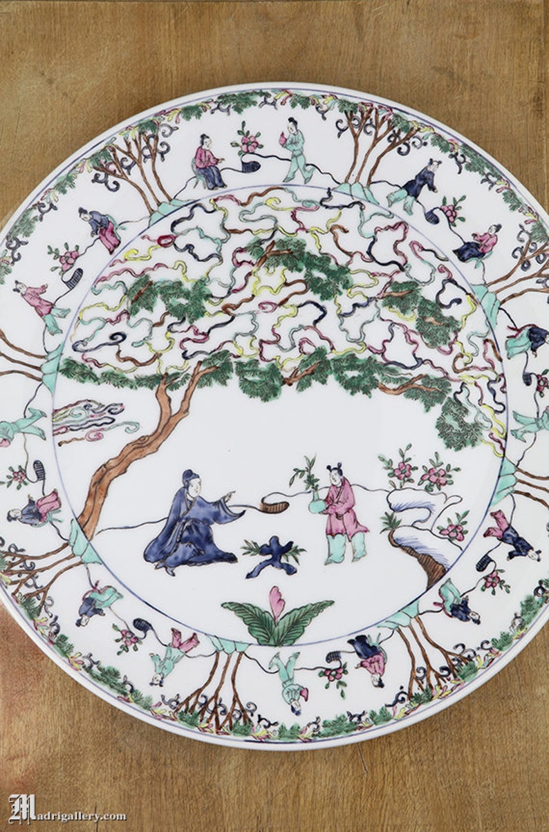 Vintage Signed Asian Japanese Serving Plate Charger W/ Handpainted Blue Tree Decorative Arts