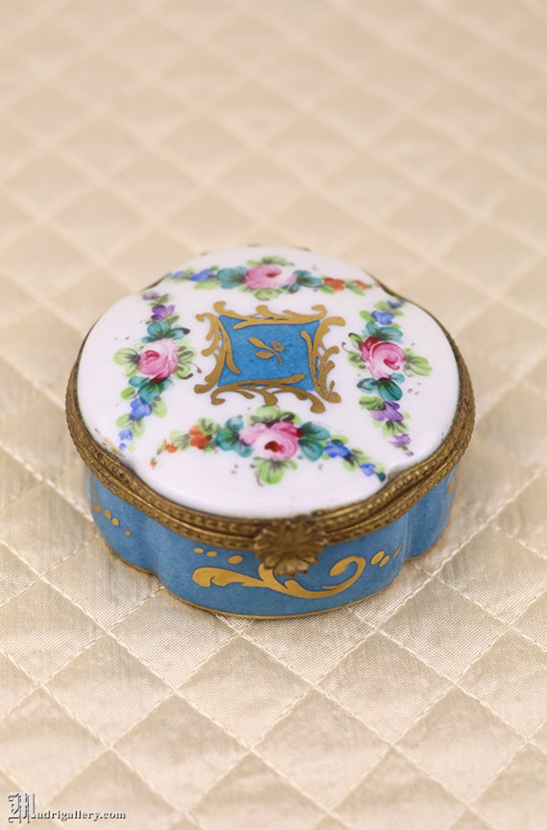 Antique porcelain box, hand painted French Limoges jewelry ring casket  dresser trinket, blue floral & gold gilt enamel, hinged lid, flowers
