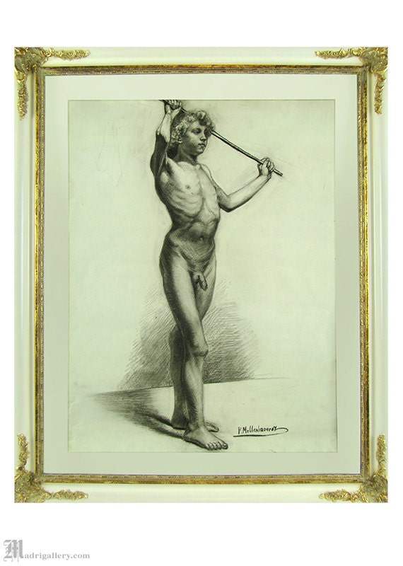 Beautiful Drawing Antique Charcoal Study Decoration Religious Religion 19th Art