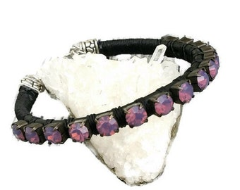 Other Costume Jewellery 1 Black Suede Rhinestone Bangle Bracelet Nb8 Perfect In Workmanship