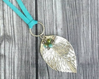 Turquoise leather necklace with silver plated leaf and glass beads, boho chic necklace, lightweight layering, gift for her, country chic