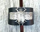Scarab leather cuff bracelet, silver beetle bracelet