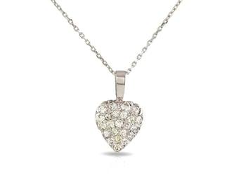 Heart diamond white gold necklace