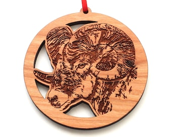 Manatee Face Ornament Nestled Pines Collections ANIMAL PORTRAITS Collection Sea Cow Engraved Black Cherry Wood Christmas Ornament