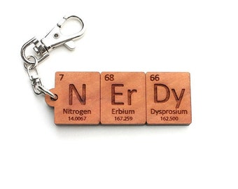 Custom name periodic table chemistry keychain cool science or nerdy periodic table element keychain geeky gift for science and chemistry nerd wood keychain urtaz Gallery