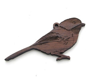 Chickadee Christmas Ornament made from Black Walnut wood . Nestled Pines Christmas Bird Ornament Collection