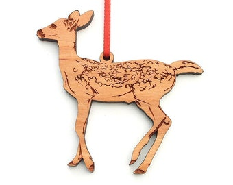White Tailed Deer Fawn Ornament - Cute Baby Bambi Deer Wood Ornament