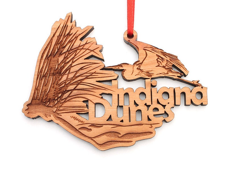 Parks Indiana Lakeshore  Black Cherry Wood Christmas Ornament Indiana Dunes National Park IN Cutout Ornament State Icons