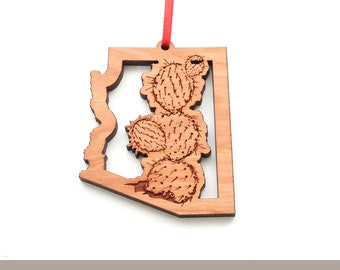 Arizona Prickly Pear Cactus State Outline Ornament - Engraved Cactus in AZ Shaped Frame - Black Cherry Wood Christmas Ornament - State Icons