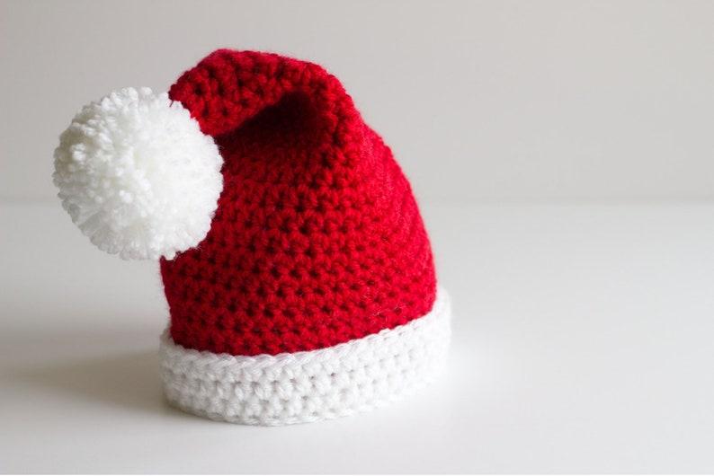 Crochet Knit Baby Newborn Infant Santa Christmas Beanie Hat Photo Prop 3-12mo