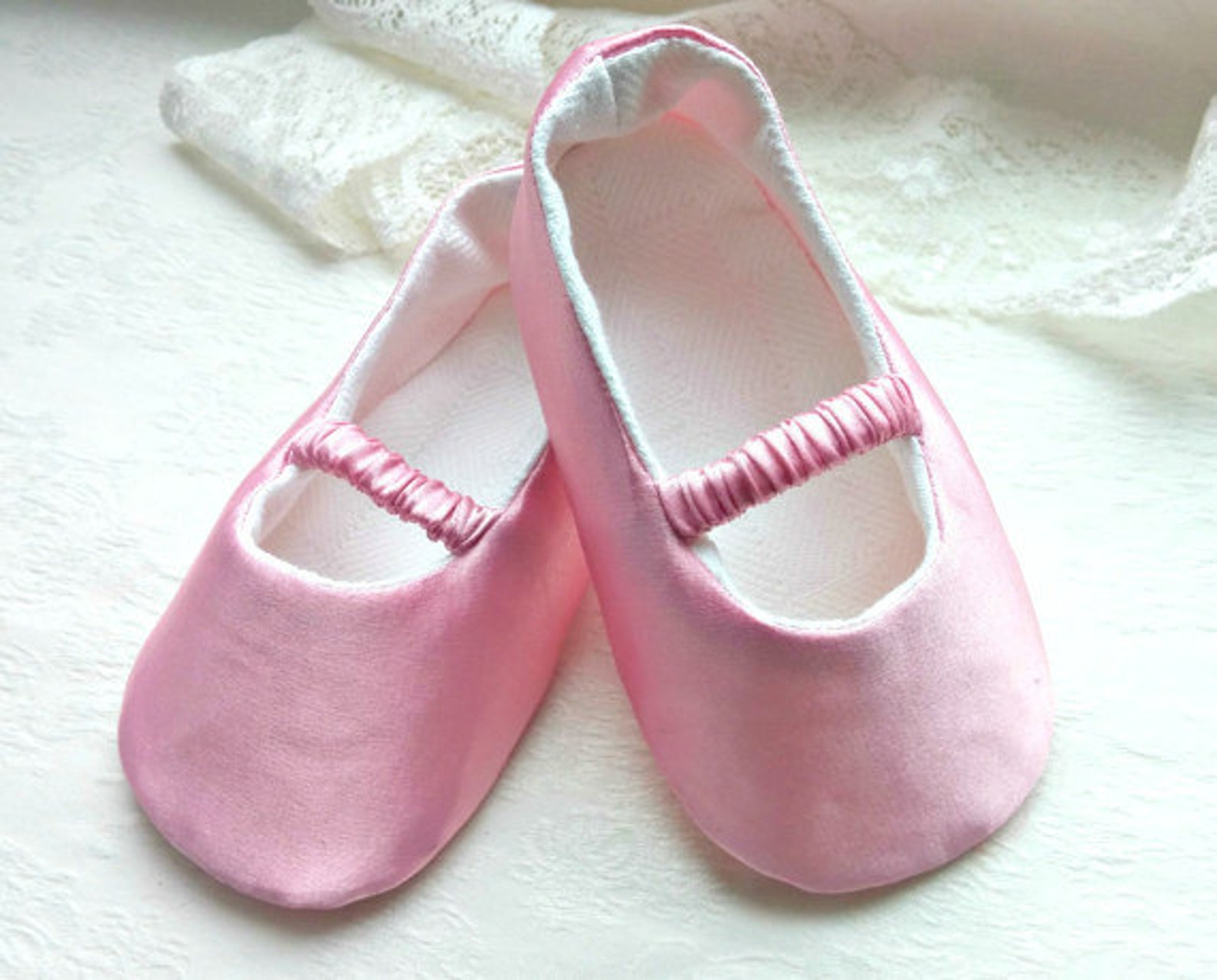 pink satin baby ballet slippers, toddler shoe, christening shoes, pink ballerina flats, satin girl shoes, baptism shoes, baby we