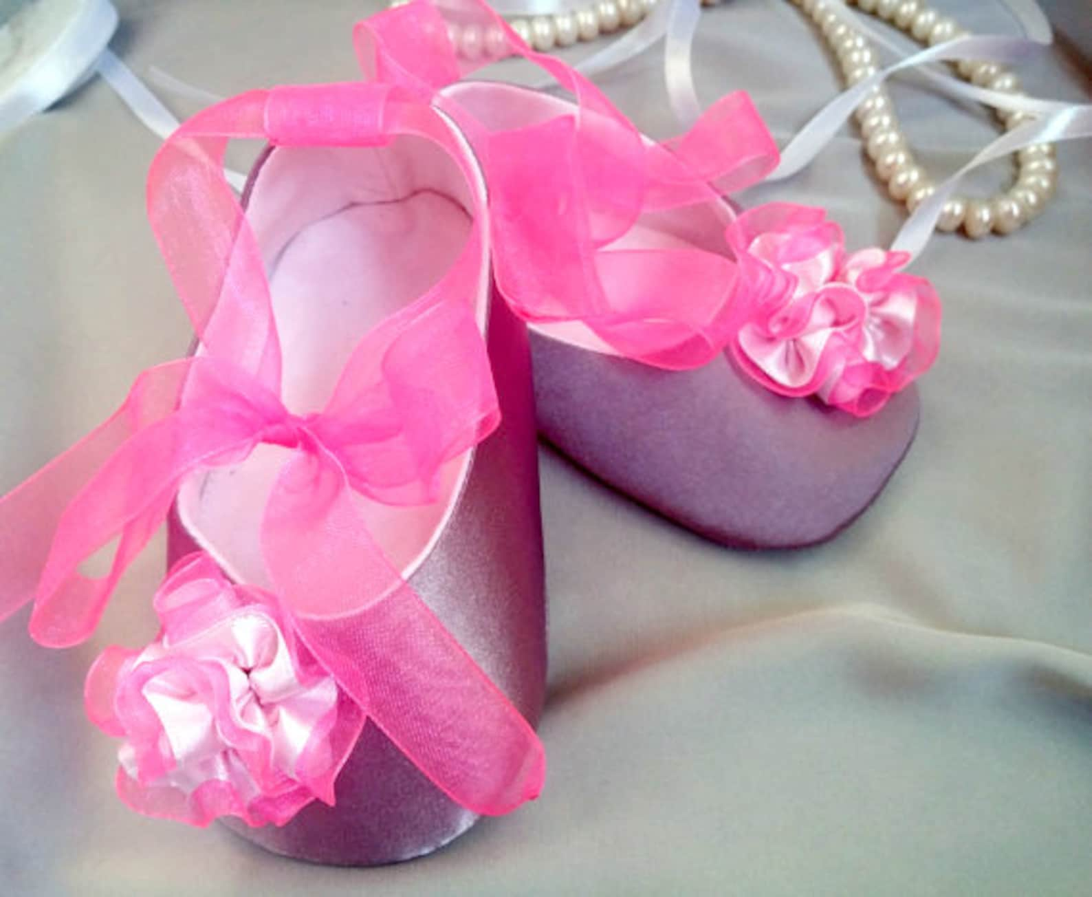 baby shoes, satin violet ballet flat, crib shoes, christening baby shoes, flower girl shoes, wedding baby shoes
