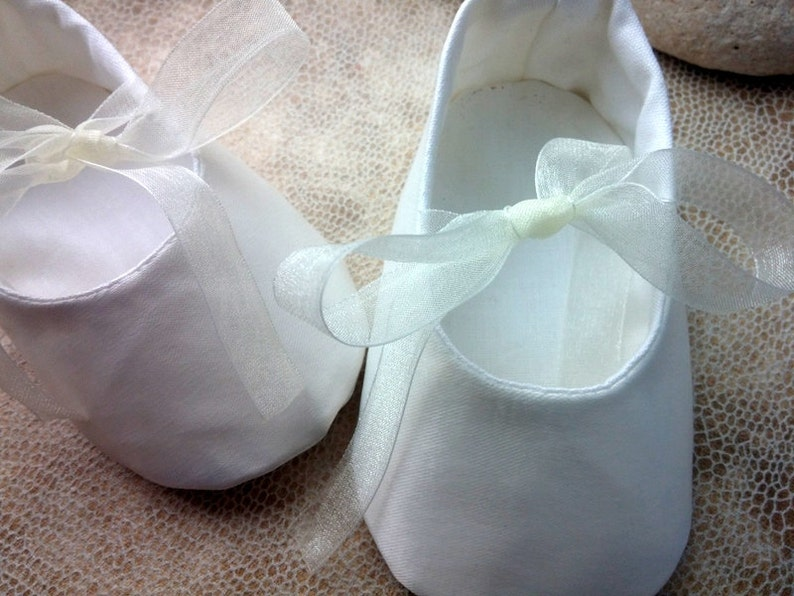 Ivory satin baby shoes baby girl shoes