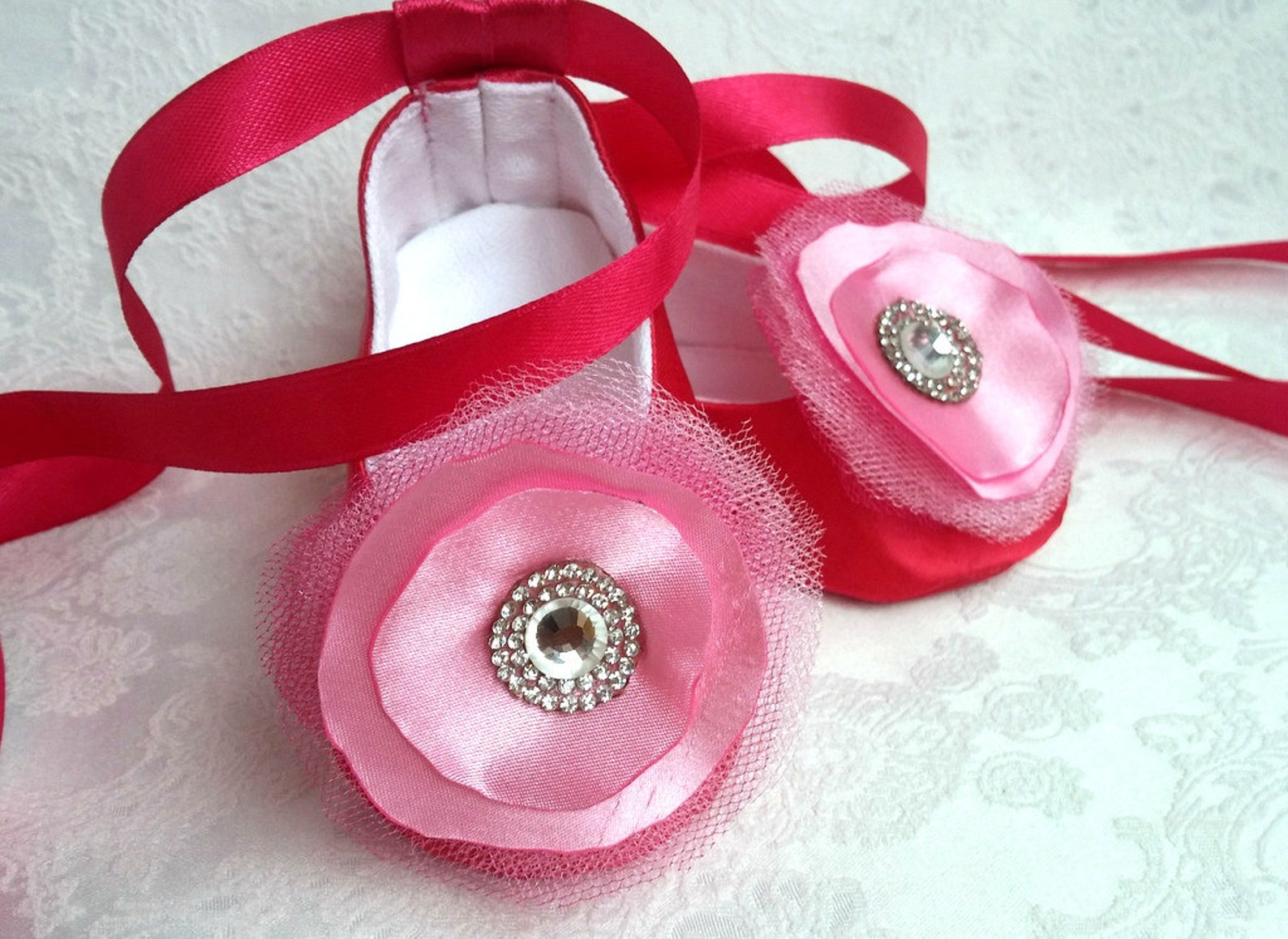baby ballet flower shoes, sparkly rhinestone shoes, wedding shoes, dark pink satin shoes, ballerina baby shower gift, satin ball