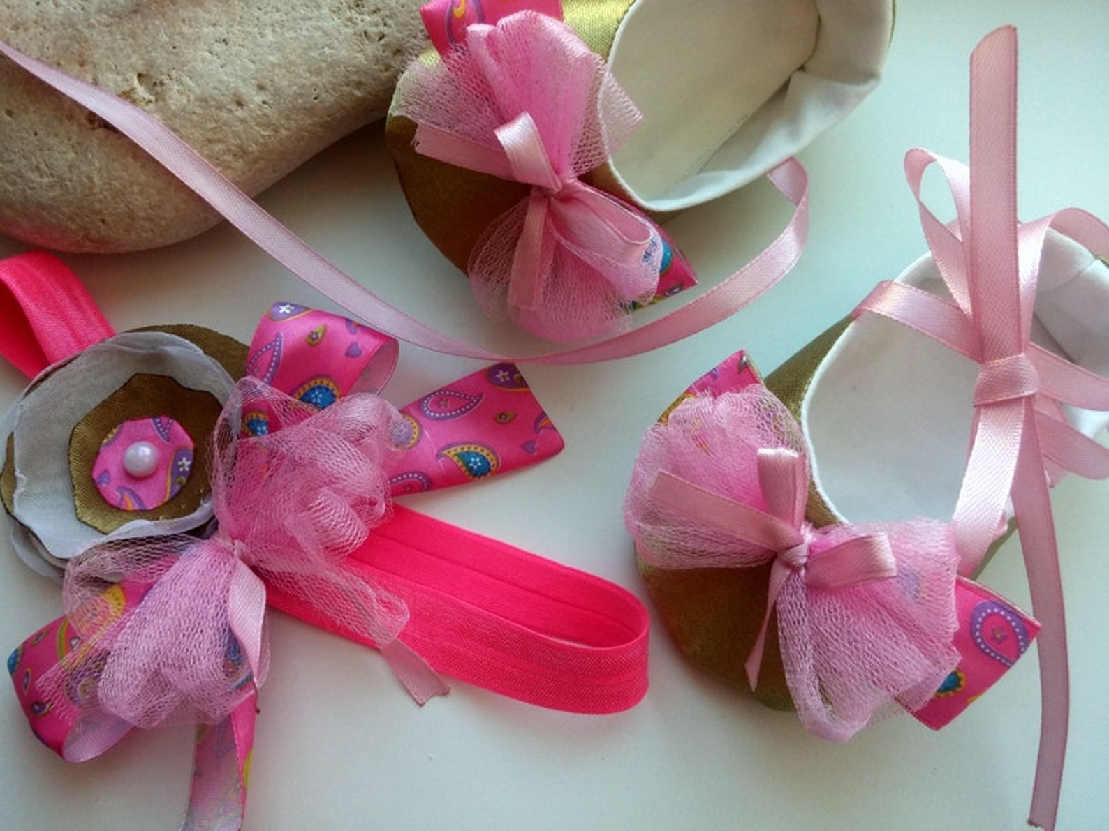 gold and pink baby infant girl shoes and headband, wedding gold satin baby shoes set, baby ballet flat with bow, toddler ballet