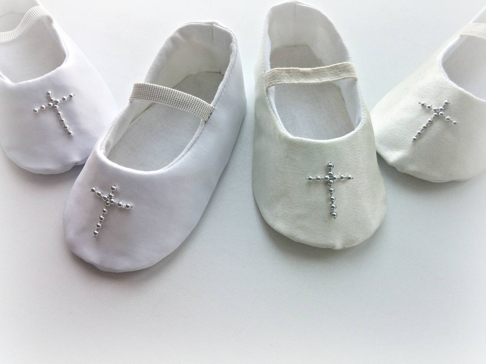 cross white or ivory christening shoes / newborn shoes baby girl slippers baptism shoes dressy ballet flats white or ivory satin