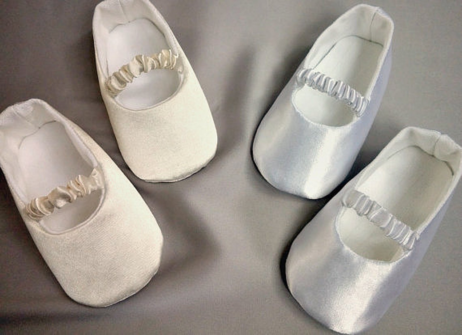 white or ivory baby ballet slippers, christening shoes, ivory or white ballerina flats, satin shoes, baptism shoes, baby wedding