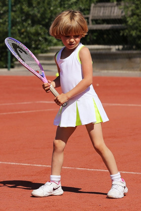 Girls Tennis Dress Victoria Racerback Neon Girls Tennis Etsy
