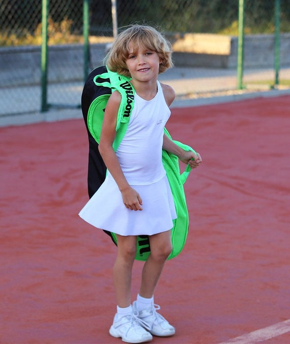 Girls Tennis Dress White RacerBack Angelique | Girls Tennis Apparel | Junior Tennis Clothes