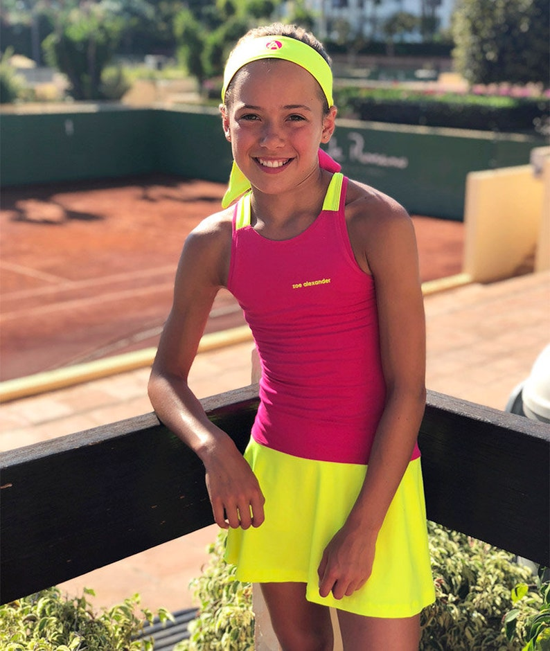 09ffb92f2594a5 Girls Tennis Dress Raspberry Pink RacerBack Jessica Girls | Etsy
