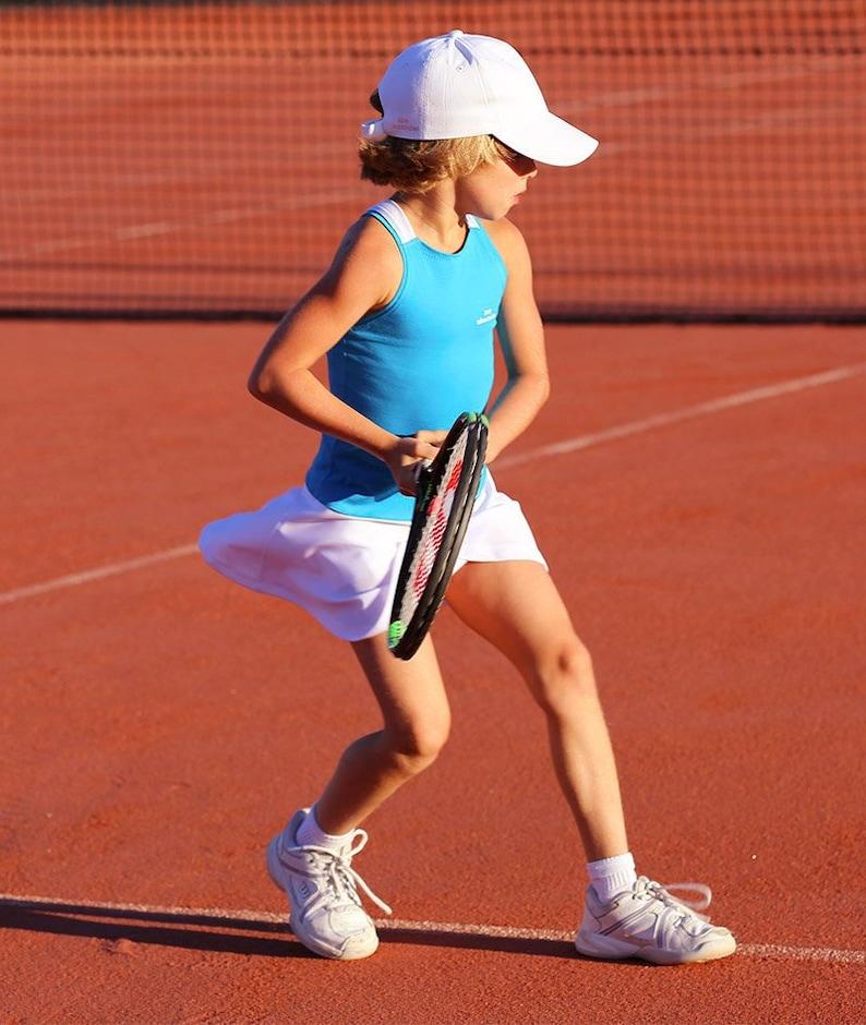7e0ab338f28e42 Girls Tennis Dress Blue White RacerBack Anett Girls Tennis | Etsy