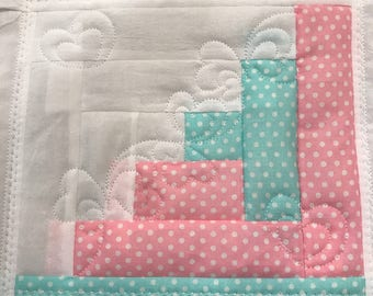 LOG CABIN in the hoop machine embroidery quilt block 3 diff sizes   (6x6   7x7  8x8)