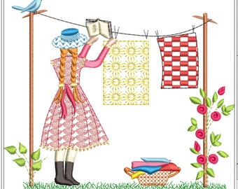 Anne of green gables hanging clothes machine embroidery download 3 diff sizes ( 5x5 6x6 7x7)
