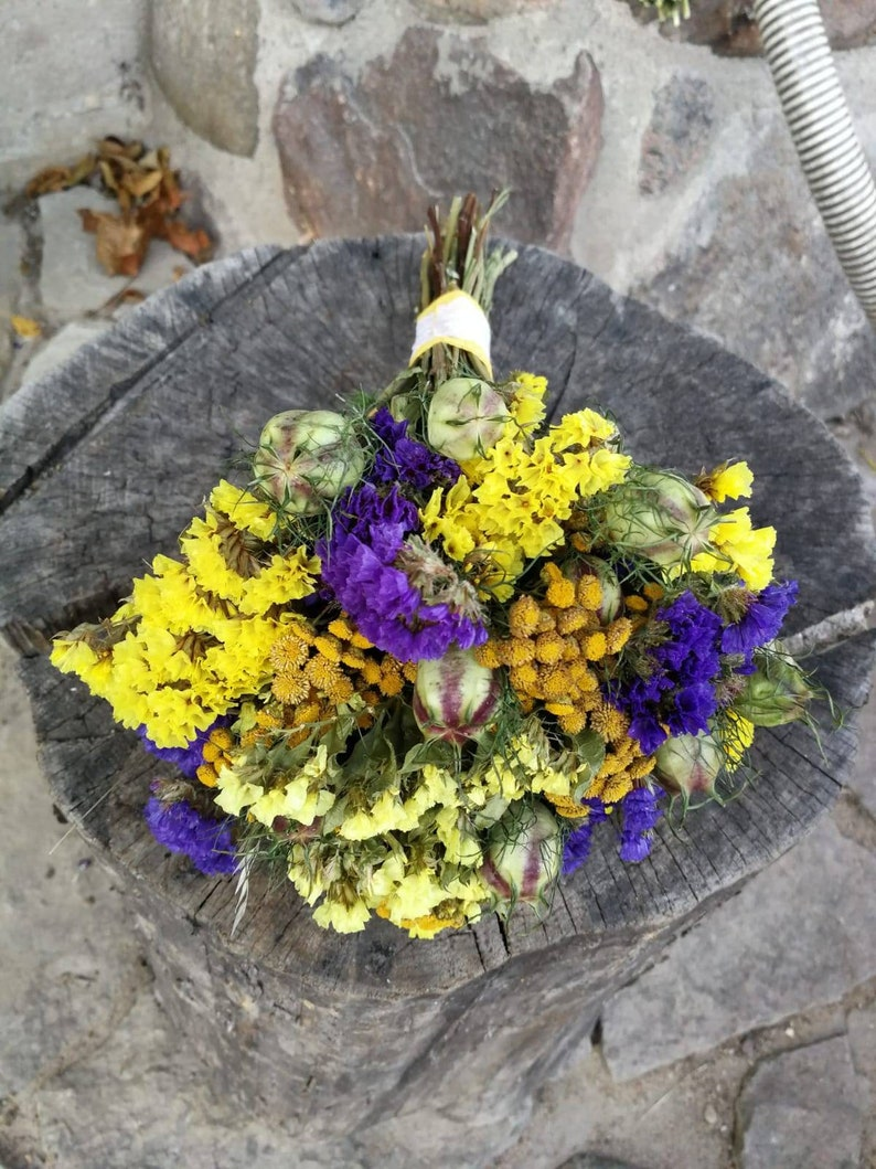 Secs Bouquet Jaune Bleu Secs Fleur Bouquet Seche Veritable Etsy