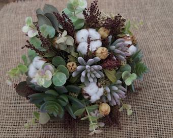 Succulent bouquet Dried flower bouquet with succulents Rustic wedding bouquet Bridal bouquet Artificial Rustic decor Farmhouse decor