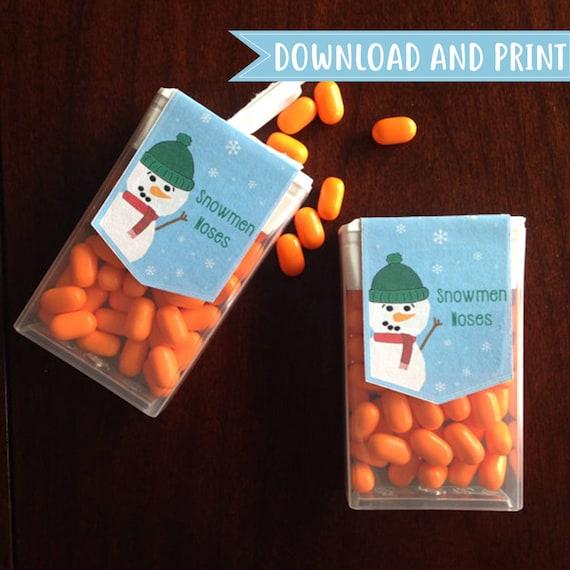 Druckbare Tic Tac Box Aufkleber Etikett Für Urlaub Schneemänner Nasen Individuell Auf Anfrage