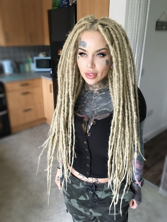 Synthetic Crocheted Dreadlock Extensions | Single and Double Ended | Light  Ash Blonde
