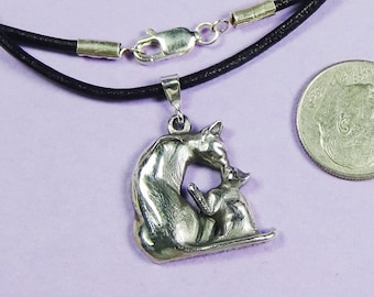 Sterling Silver Cat of Mine Cat n Kitten Pendant Necklace on Black Leather Cord,Cat Lover Jewelry Gift for Mom,Silver Cat n Kitten Jewelry