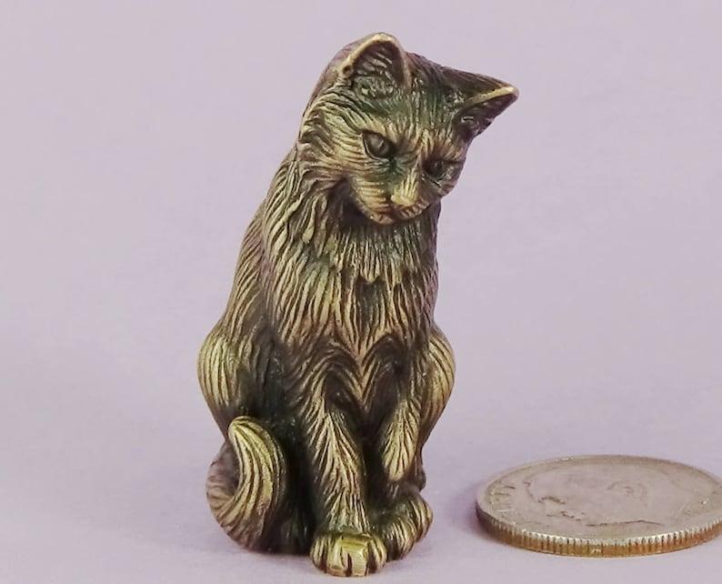 Sitting Cat Figurine Small Solid Bronze Cat Cat Lover Gift for Him or Her Small Bronze Cat Sculpture Cat of Mine Mini Cat Sculpture