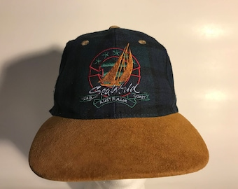 VINTAGE PLAID 2 Tone Australia Sailboat hat With Suede Brim    Seaworld  australia Sailboat hat Gold Coast b96eec2fd49