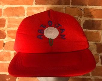 Vintage Red 6 Panel Snapback Hat