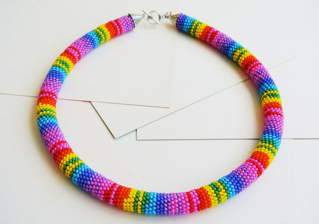 Rainbow Bead Crochet Pattern Pdf For Bracelet Necklace Etsy