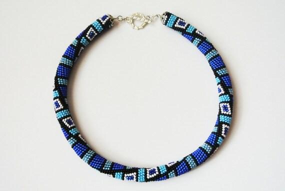 Bead Crochet Pattern Blue Crystal Bead Crochet Etsy
