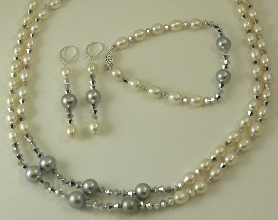 Freshwater White and Gray Pearl and Gray Crystal Necklace,Bracelet and Earring Set